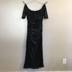 Badgley Mischka Sequin Off-Shoulder Dress 14
